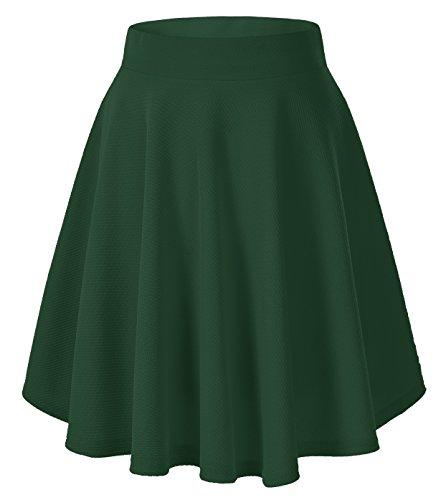 Vintage Sailor Hose (Urbancoco Damen Mädchen Basic Solid vielseitige dehnbaren informell Mini Skater Rock (XL, Dunkelgrün-lange))