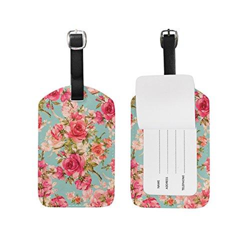 ALAZA Belle rose d'epoca floreale Etichetta bagaglio pu borsa di pelle Tag valigie di viaggio ID identificativo del bagaglio Etichetta