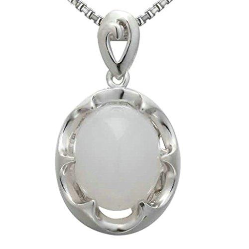 Beydodo Modeschmuck 925 Sterling Silber Damen Anhänger Halskette Rund Frame Kristall Ball Charm Weiß Kette