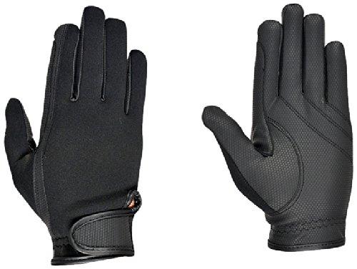 Riders Trend Erwachsene Reiter Handschuhe Reithandschuhe Neopren innen Ziegenanilinleder, Black, L