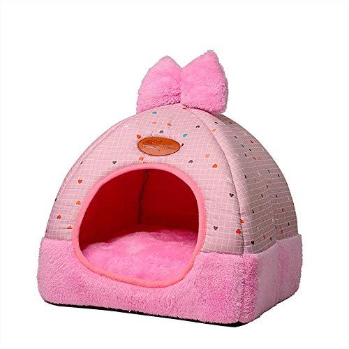 Yiuu 2 In 1 Haustier Haus und Bett, Maschinenwaschbar Anti-Rutsch FaltbareWeich Warm Hund Katze Hündchen Nest Höhle Sofa mit Abnehmbarem Matratze, 4 Größen,002,XL