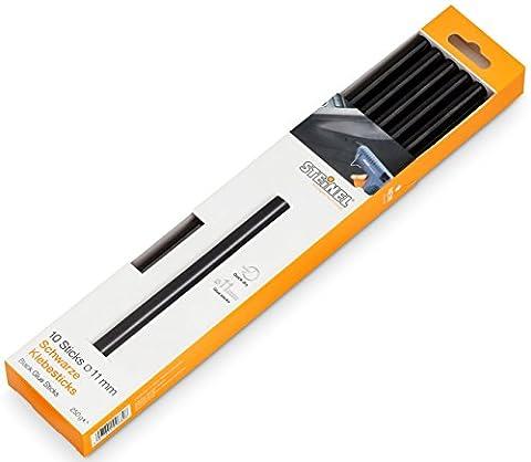 Steinel bâtons de colle noire 11 mm - 006792 - adaptée au Steinel pistolets á colle chaude, cartouches de colle chaude d'une longueur de 250 mm, utilisation universelle pour le collage des matériaux noirs, 250 g emballage, 10 pièces
