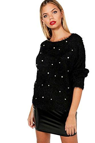 Noir Femmes Pull orné de perles moelleux faye Noir