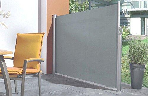 Paravent rétractable en polyester anthracite et alu 300x170cm