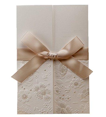 Elegante Vintage geprägtem Tri-Fold Hochzeit Einladungen Karten Kit mit Schleife Engagement Party Geburtstag Karten mit Umschlag und Dichtung (30Stück) (Hochzeit Einladung-kit Braut)