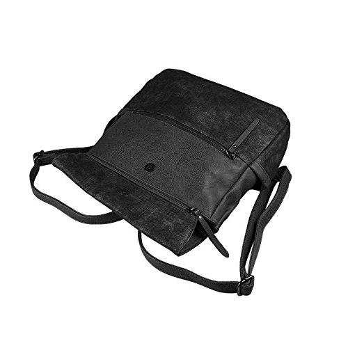 OBC DAMEN LEDER RUCKSACK TASCHE Tasche Cityrucksack Schultertasche Handtasche Shopper Beige Schwarz V1