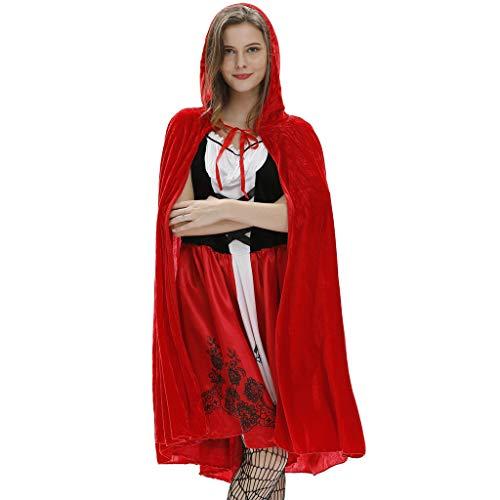ALISIAM Halloween Damen Rotkäppchen Kostüm Set Kleid mit Umhang Karneval Kostüm Rotkäppchen Verkleidung Sexy Erwachsene Kostüm für Rollenspiel Party Nachtclub Märchen - Audrey Hepburn Tanz Kostüm