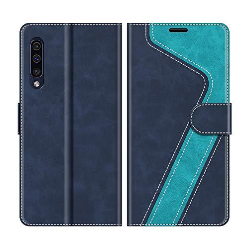 MOBESV Handyhülle für Samsung Galaxy A50 Hülle Leder, Samsung Galaxy A50 Klapphülle Handytasche Case für Samsung Galaxy A50 Handy Hüllen, Modisch Blau -