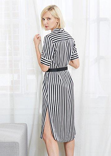 LILYSILK Seide Hemdkleider Partykleider Halbarm Streifen Damen Lang mit Gürtel 22 Momme Streifen