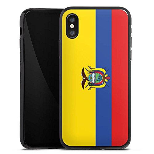 Apple iPhone X Silikon Hülle Case Schutzhülle Ecuador Flagge Fußball Silikon Case schwarz