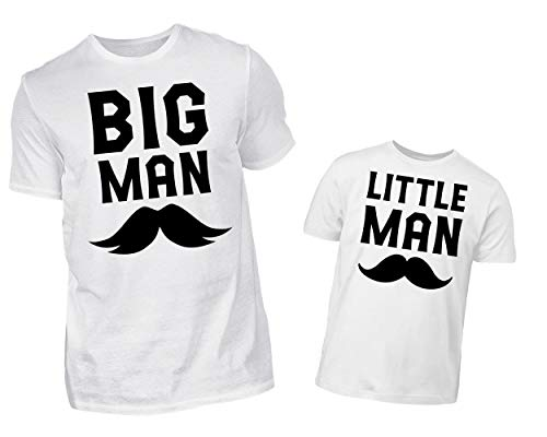 Vater Und Sohn Partnerlook Tshirt Big Man Little Man Rundhals Papa Kind Outfit (XL & 3/4 (98/104))