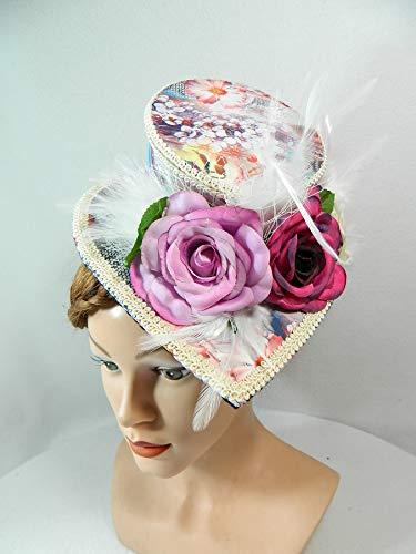 Midi Damenhut Tropfen Teardrop Fascinator Blumen Rosen Headpiece Kopfschmuck Gothic Western - Pferderennen Motto Kostüm