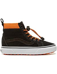 093492d8b Vans UY SK8-Hi MTE Black Orange Suede Youth Trainers