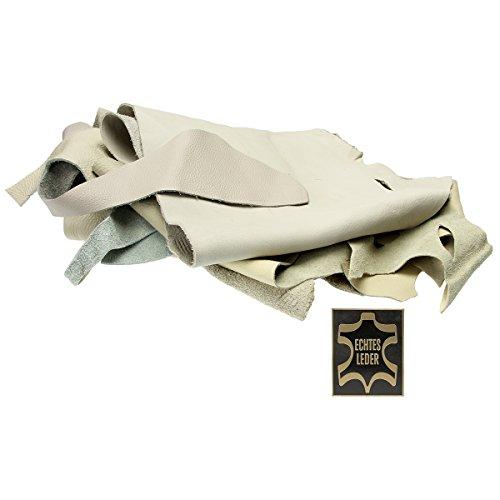 Lederreste 500g. Verschnittstücke Lederstücke Bastelware (helle Farben (grau-beige-weiss))