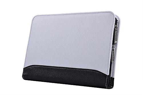 Kompakte professionelle Leder Organizer Schreibmappe für iPad Mini 4, A5 Papier,Weiß+Schwarz (Padfolio Case Für Ipad 4)