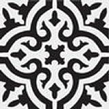 Zementfliese Iraquia weiß schwarz - Handarbeit - Vintage Jugendstil Fliese für Altbau Neubau