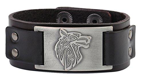 Lemegeton Pagan Celtic Knoten Wolf Fenrir Handwerk Connector Leder Manschette Armband Männer Schmuck (braun, antikes Silber)