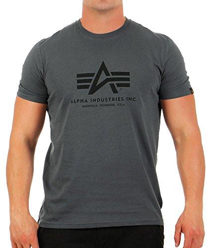 Alpha Industries Herren Regular Fit T-Shirt Basic T-Shirt greyblack-black