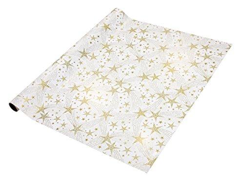 SIGEL GP115 Weihnachts-Geschenkpapier weiß/gold, 1 Rolle 5m x 70cm
