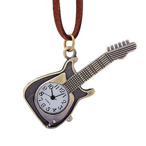 YYZBS Vintage-Bronze-Gitarren-Taschenuhr Für Damen Und Herren, Lange Liste