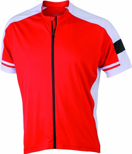 James & Nicholson Herren Sport Top Radtrikots Bike-T Full Zip rot (red) Medium