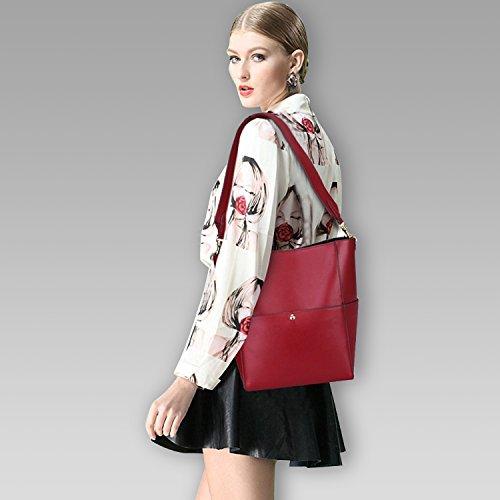 S-ZONE Borsa della borsa del sacchetto di spalla del Tote di cuoio dell'annata di modo delle donne di (vino rosso) Vino rosso