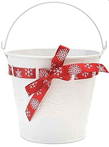 Christmas Bucket Baskets Christmas Baskets Pots Metal Pails Decorative Gifts (10.5cm White Pail)