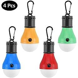 Aibesser Camping Lampe, 4PCS Portable LED Camping Lampen, LED Zelt Lampe, Notbeleuchtung Lichter mit Haken, Wasserdicht Ideal für Camp, Biwak, Angeln, Wandern