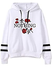 cb958ae2afa5bd VEMOW Damen Hoodie, Frauen Rose Nothing Brief gedruckt Langarm Sweatshirt  Bluse