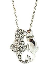 Cat Collar amantes de los gatos colgante cadena de plata Kitty Kat Paw tono de la plata