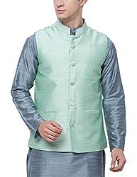 Svanik Pistachio Rayon Blend Solid Waistcoat