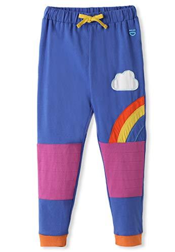 kIDio Bio-Baumwolle Baby Kleinkind Hose mit Knieschoner - Mädchen Junge - Blau/Regenbogen Streifen (0-4 Jahre) (24M (18-24 Monate), Blau) - Hose Knieschoner