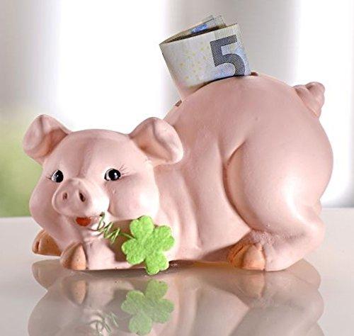 GKA Süßes Sparschwein mit Kleeblatt Spardose Schwein Sparen Keramik mit Schlüssel Geschenk Taufe Geburtstag Hochzeit
