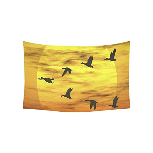 Gthytjhv arazzi tapestry wild duck flying over the lake stock tapestries wall hanging flower psychedelic tapestry wall hanging indian dorm decor for living room bedroom