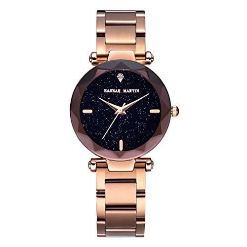Damen Uhren, L'ananas Frauen Mode Diamant schneiden Sternenhimmel Zifferblatt Mesh Riemen Armband Armbanduhr Bracelet Women Watches (Z-Roségold)