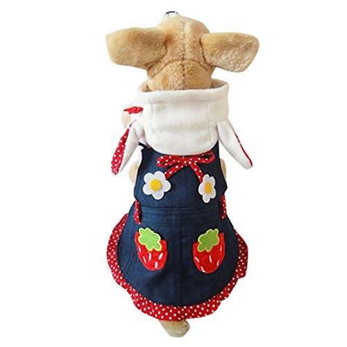 Speedy Pet Hunde Bekleidung Dog Clothes Katzen Kleidung Entzückende Kostüm Erdbeer-Häschen Hoodie Kleid Sehr Süß Größe (Häschen Anzug Kostüme)