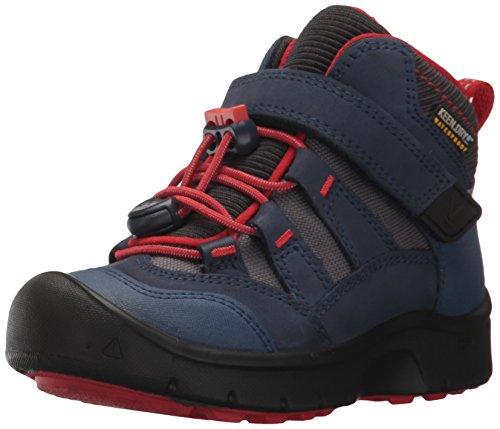 Keen Hikeport Mid Wasserdichter Kinder Outdoor-Stiefel, Keen.Dry Membran für Wasserdichtigkeit und Atmungsaktivität, Schnellschnürung , Blau (DRESS BLUES/FIREY RED), EU 31 Klett (Winter Keen)