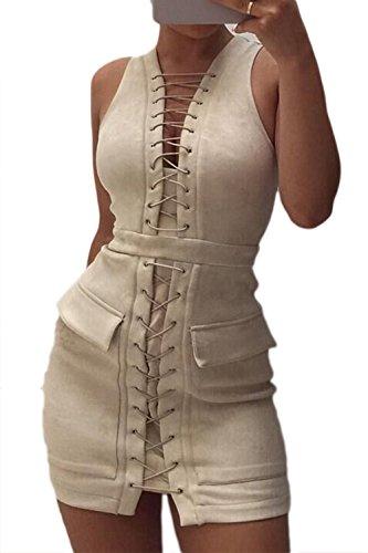 Frauen Ärmellose Spitzen Bis Bodycon Mini - Party - Kleid Apricot