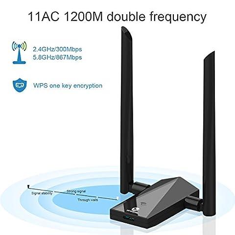 Zoweetek Wi-Fi Adapter AC 1200Mbps USB 3.0 Dual Band (5.8G /2.4G) Long Range Network Adapter, Built-in Intelligence Antenna High Speed Transmission For Mac OS X 10.6-10.12 / Windows XP / Vista / 7 / 8 / 8.1 / 10