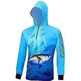 zxytg Uomo Donna Maglia con Cappuccio Abbigliamento da Pesca Manica Lunga Protezione UV Camicia da Pesca A Rapida Asciugatura con Motivo A Pesci Camisas Pesca-XXL_Blue