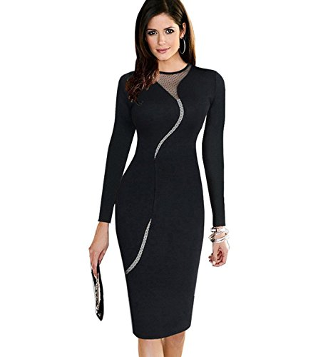 Minetom Donne Vestito Elegante Vestito Matita Sexy Mesh Clubwear Cocktail Vestito Cerniera Di Chiusura Nero A 44