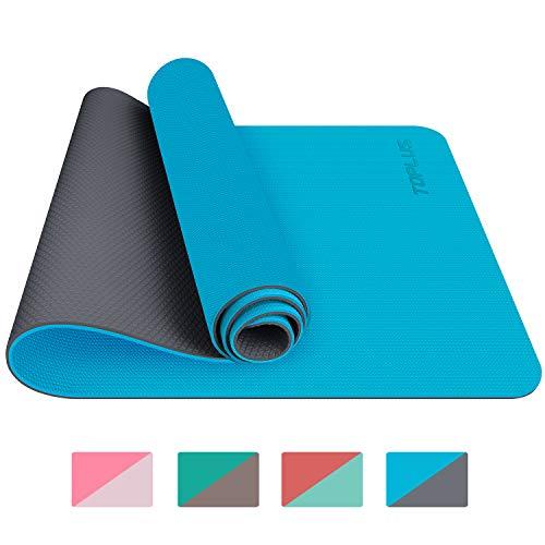 TOPLUS Gymnastikmatte, Yogamatte Yogamatte Gepolstert & rutschfest für Fitness Pilates & Gymnastik mit Tragegurt - Maße 183cm Länge 61cm Breite- Hellblau & Grau