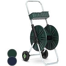 Jago – Carro para manguera práctico de hierro y plástico - color verde - para manguera de longuitud de 60 m