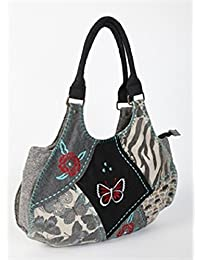 bc85161259dd Womens Ladies Gorjus Patchwork Design 70% Wool Shoulder Tote Bag Handbag