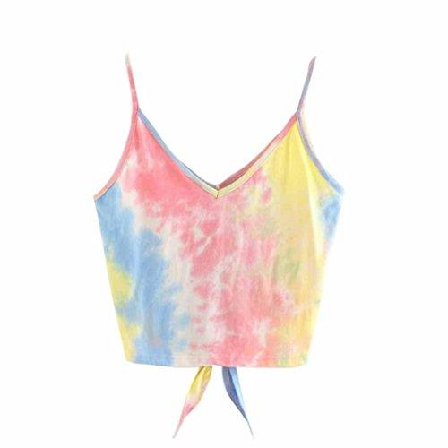TUDUZ Sommer Damen Spitze Patchwork Armelloses Crop Top Weste Tank Basic Shirt Oberteile (M, Z-Rosa) (Damen Wollhose)