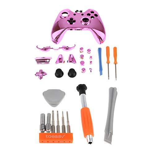 H HILABEE Für Microsoft Xbox One Controller Shell Kit Ersatzgehäuse Vorderseite Rückseite Frontplatte Daumengriff Teile Rosa Mit Schraubendreher Set All In One