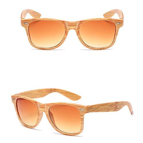 KCJKXC Sonnenbrille Frauen Imitation Holz Bambus Korn Vintage