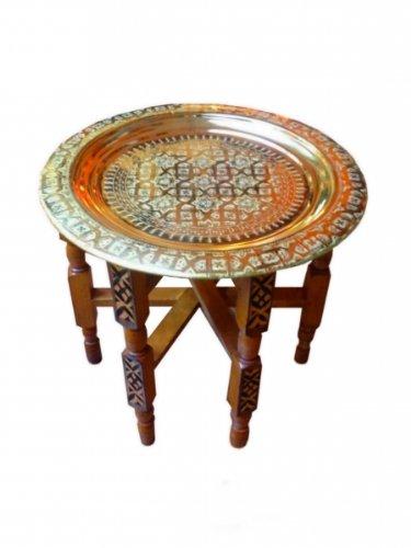 """Orientalischer Teetisch \""""Tefor\"""" Holz Ø 60 cm Gold"""