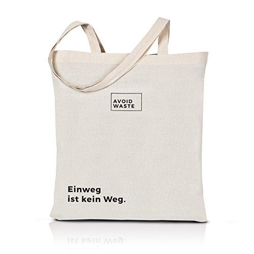 avoid waste Jutebeutel bedruckt - Einweg ist kein Weg - Nachhaltige Einkaufstasche mit Aufdruck und langen Griffen (Einweg ist kein Weg)
