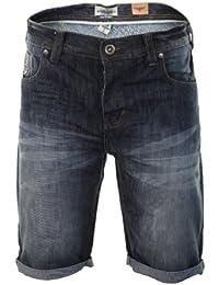 "Threadbare - Short Jean Revers Denim Usé Homme Cargo/Treillis ""Patterson & Chino"" Neuf"